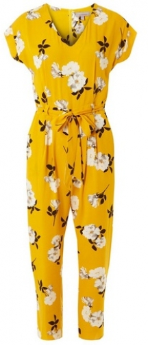 Dorothy Perkins Womens Petite Yellow Floral Print - Yellow, Yellow Jumpsuit