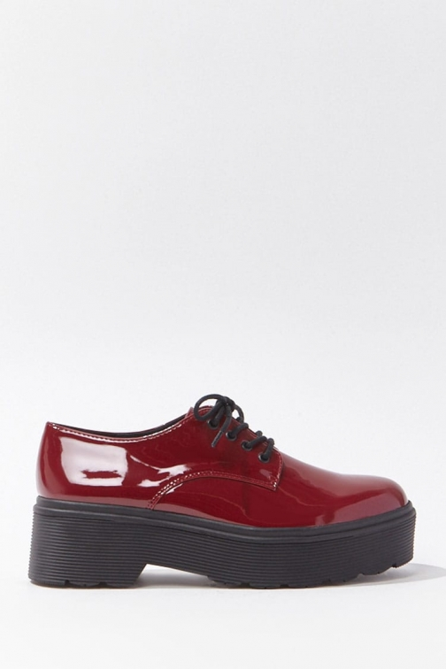 Forever21 Forever 21 Faux Patent Leather Platform Oxfords , Burgundy Shoes