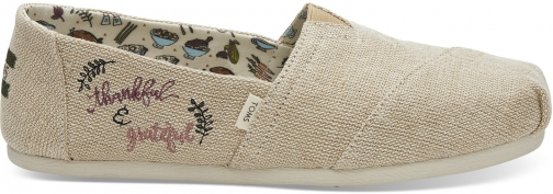 Toms Natural Heritage Embroidered Thankful Women's Classics Slip-On Shoes