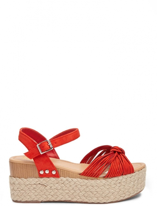 Forever21 Forever 21 Yoki Faux Suede Wedges , Red Espadrille