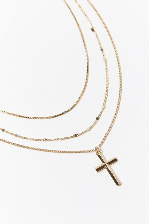 Forever21 Forever 21 Cross Pendant Necklace Set , Gold Jewellery