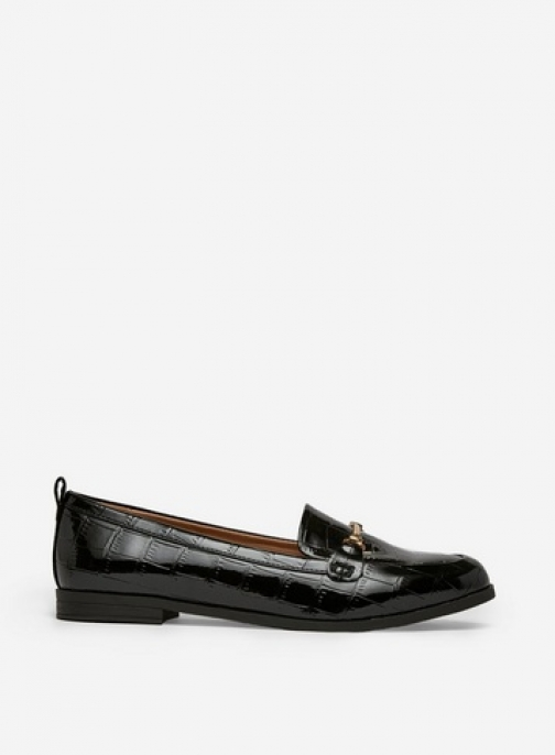 Dorothy Perkins Wide Fit Black 'Luna' Loafers Shoes