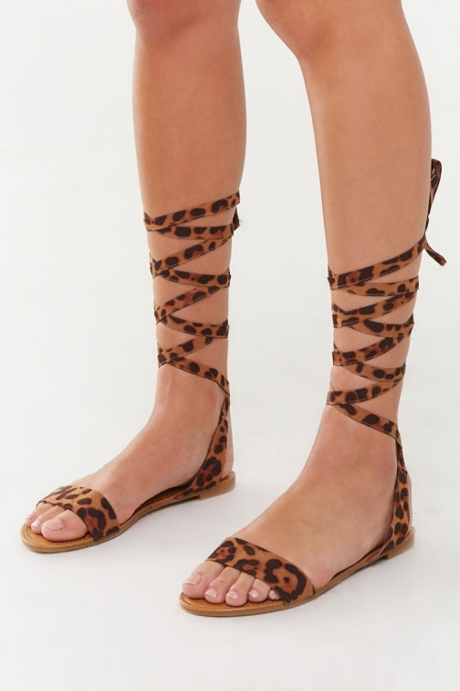 Forever21 Forever 21 Strappy Leopard Print , Black/brown Sandals