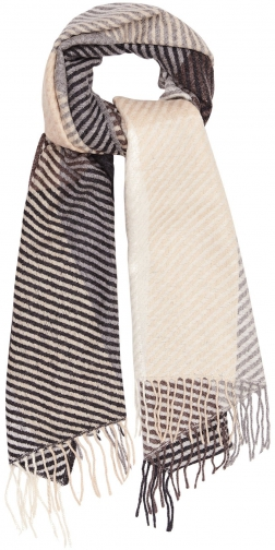 Reiss Bailey - Lambswool Checked Grey, Womens Scarf