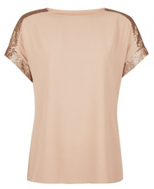 Dorothy Perkins Taupe Sequin Sleeve T-Shirt