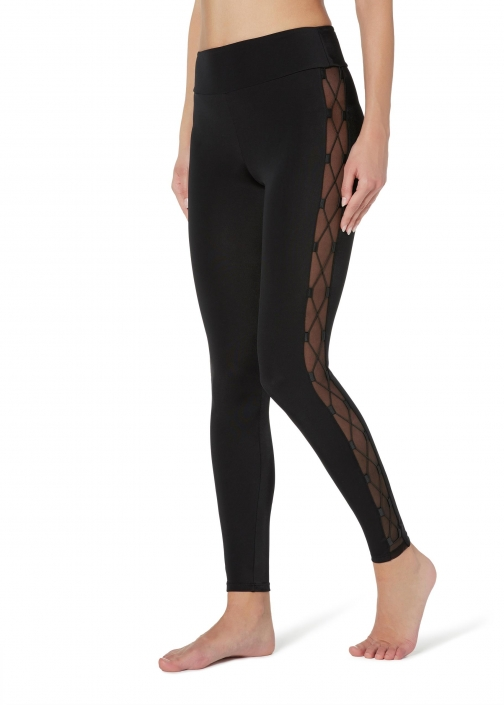 Calzedonia - With Interlaced Details, S, Black, Women Legging