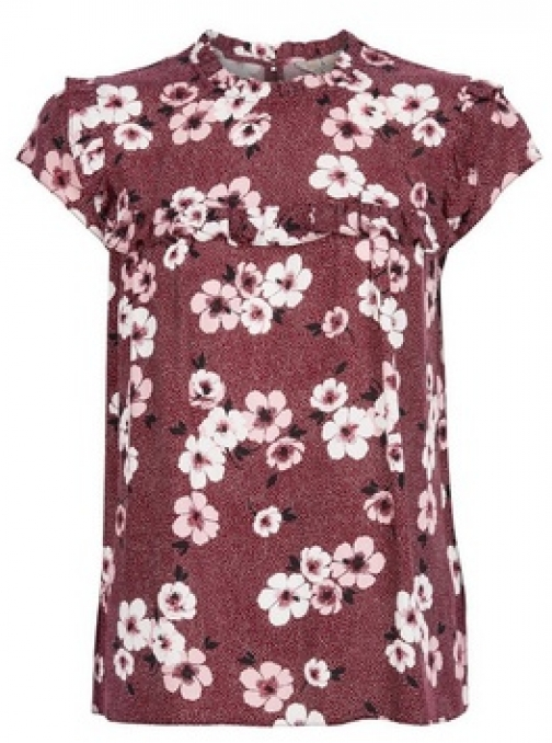 Billie & Blossom Mulberry Floral Print Ruffle Shell Top