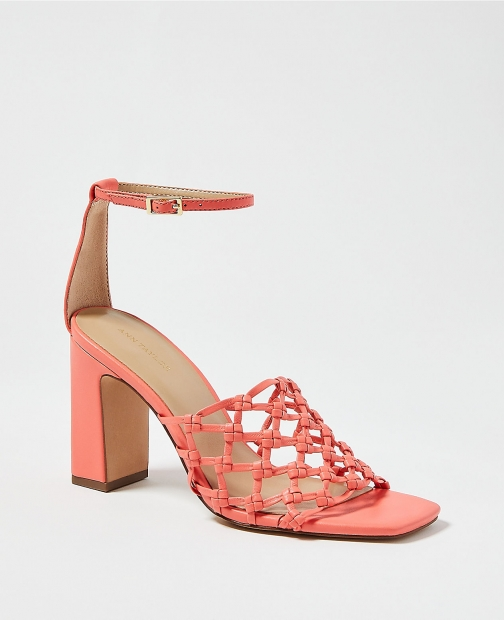 Ann Taylor Rylee Knotted Leather Block Heel Sandals