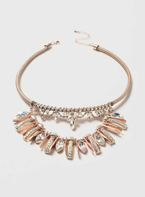 Dorothy Perkins Womens Rose Gold Rhinestone - Clear Necklace