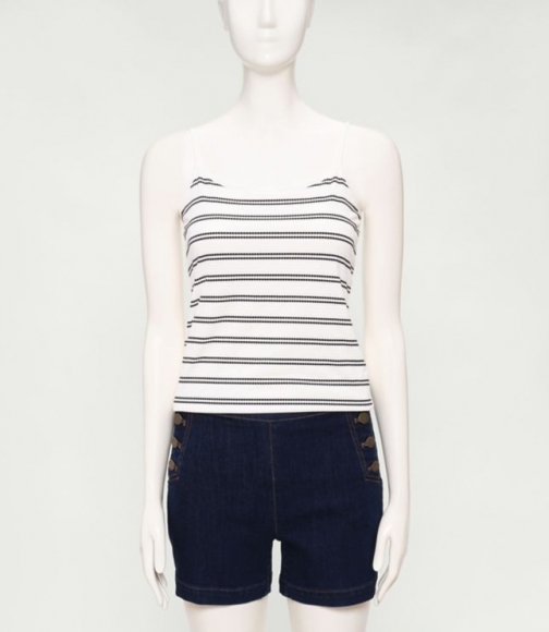Loft Scoopneck Cami (Dot Stripe Jacquard) Top