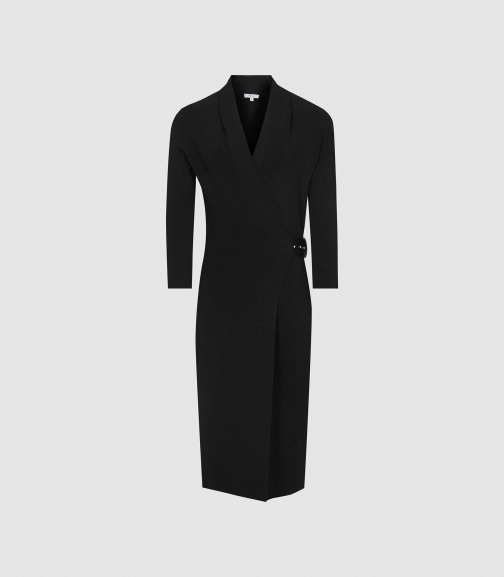 Reiss Luisa - Knitted Wrap Black, Womens, Size S Dress