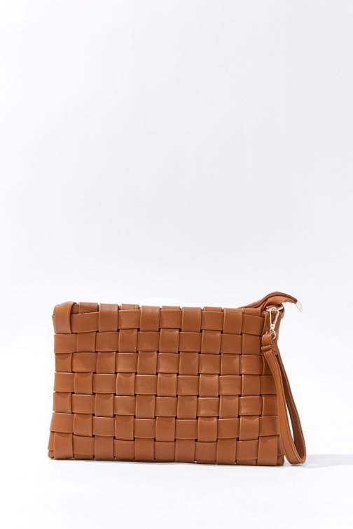 Forever21 Faux Leather Crosshatch At Forever 21 , Brown Clutch