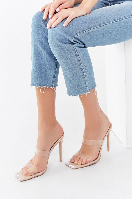 Forever21 Forever 21 Rhinestone Stiletto Heels , Nude Shoes