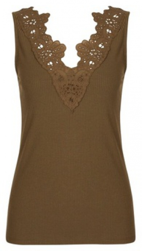 Dorothy Perkins Khaki V-Neck Lace Trim Vest Top