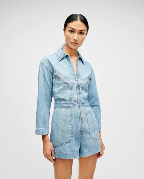7 For All Mankind Zip Front Romper Wilshire Blvd Jumpsuit