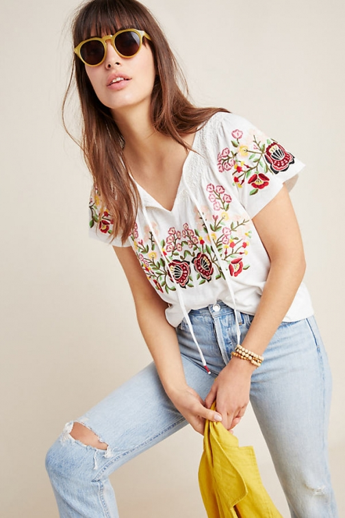 Anthropologie Elodie Embroidered Top