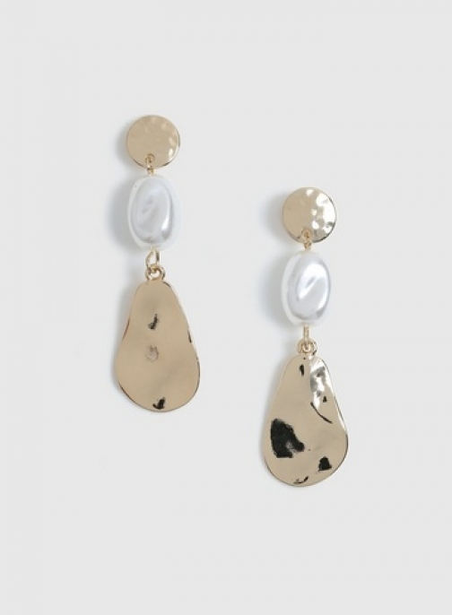 Dorothy Perkins Pearl And Gold Drop Earring