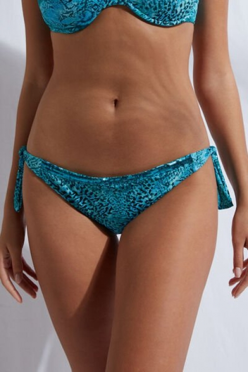 Calzedonia Tied Bottoms Mauritius Woman Blue Size 2 Swimsuit