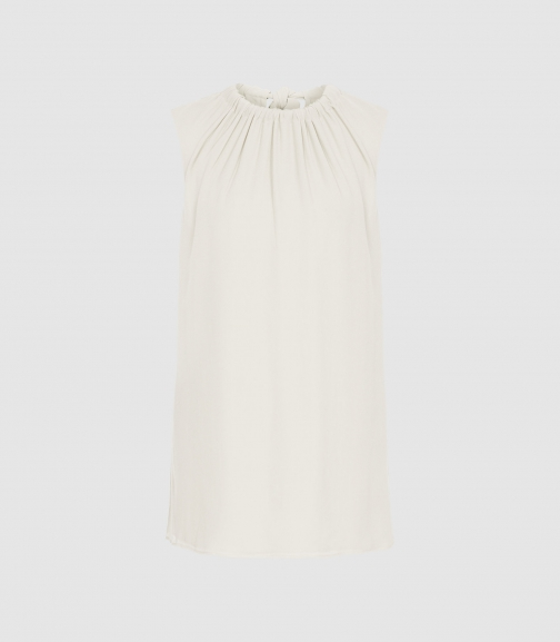 Reiss Lena - Bow Detail Top Ivory, Womens, Size 4 Shirt
