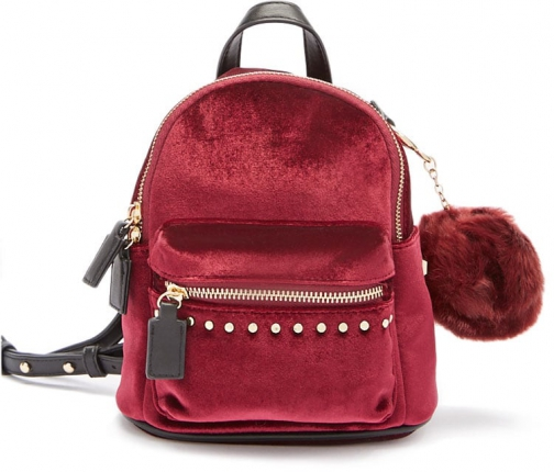 Forever21 Forever 21 Mini Velvet Burgundy Backpack