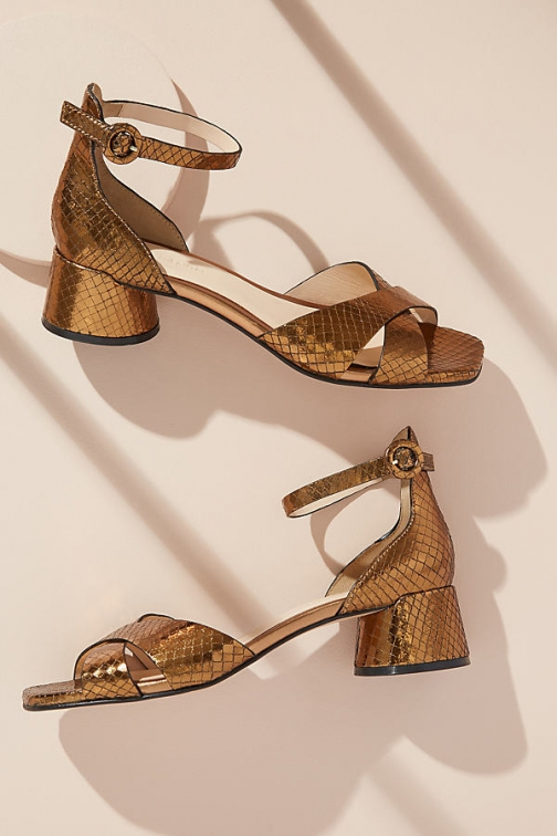 Anthropologie Piper Snake-Effect Leather Heels Shoes