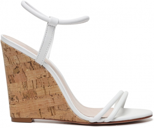 Schutz Shoes Essie - 5 White Leather Wedge Sandal