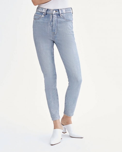 7 For All Mankind Womens Coated High Waist Ankle Skinny Aspen Foil Size: 24 Trouser