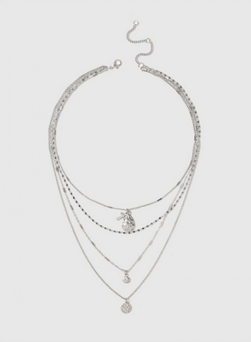 Dorothy Perkins Womens Silver Look Multirow Choker - Silver, Silver Necklace