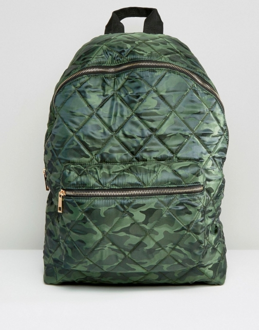 Asos Quilted Camo Backpack