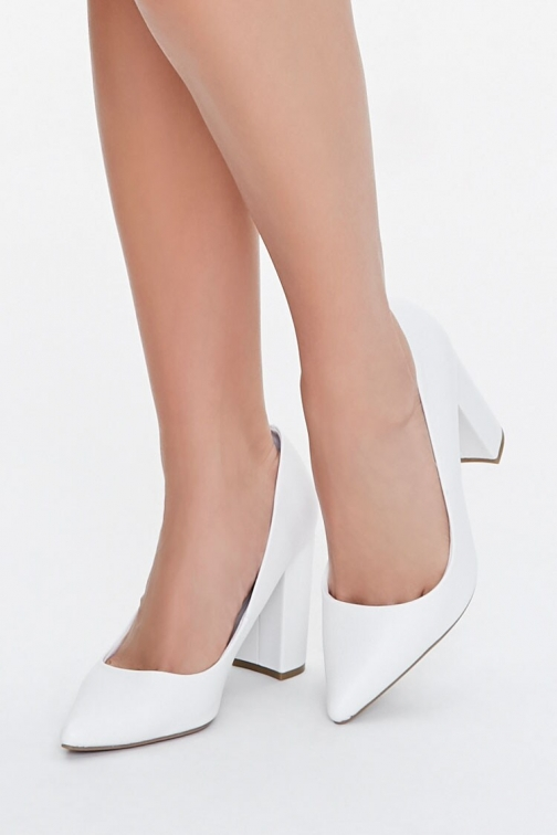 Forever21 Pointed Block Heel At Forever 21 , White Pumps