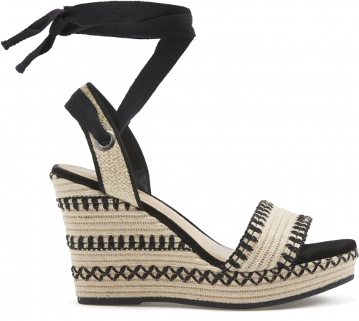 Schutz Shoes Electra - 5.5 Black Natural Multi Fabric Wedge Sandal