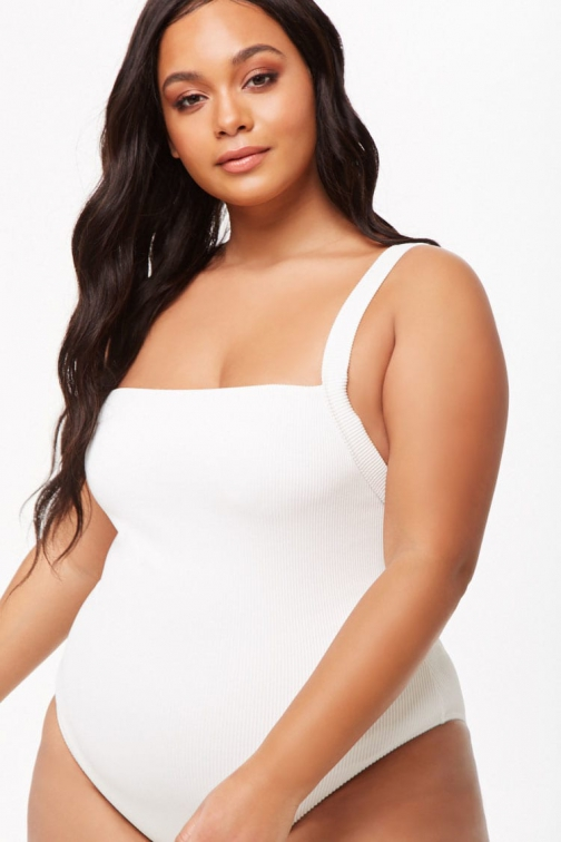 Forever21 Plus Forever 21 Plus Size Ribbed One-Piece White Swimsuit