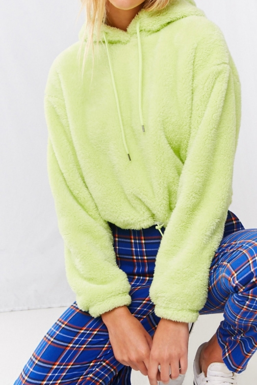 Forever21 Forever 21 Faux Fur Hooded , Lime Pullover