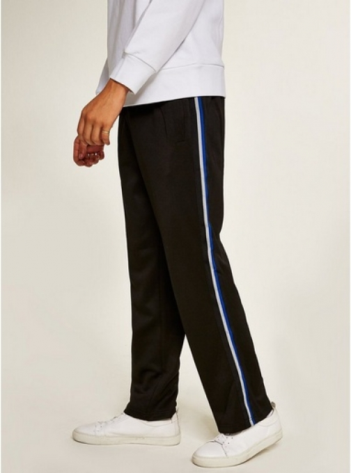 Topman Mens Black Poly Tricot Side Taping Joggers, Black Athletic Pant