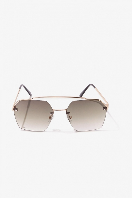 Forever21 Forever 21 Ombre Tinted , Gold/olive Sunglasses