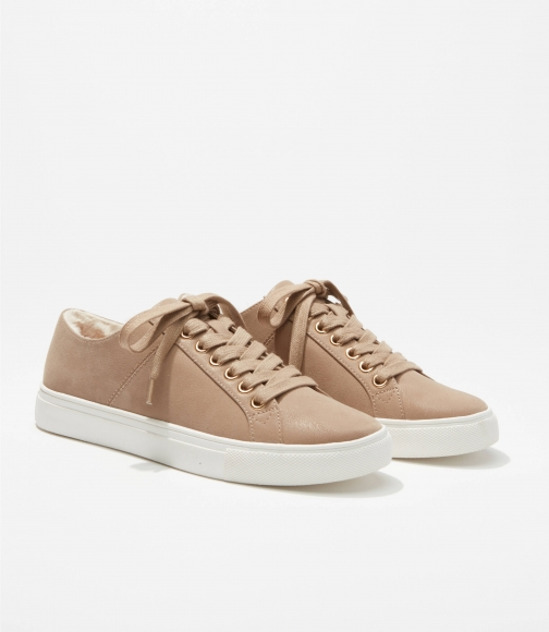 Loft Faux Fur Lined Lace Up Sneakers Trainer