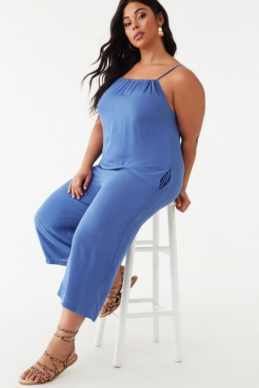 Forever21 Plus Forever 21 Plus Size Cami , Blue Jumpsuit