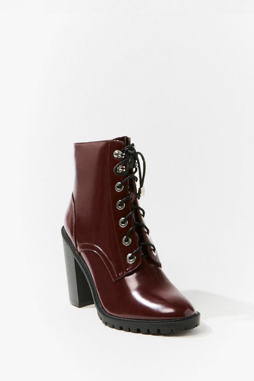Forever21 Forever 21 Faux Leather , Burgundy Ankle Boot