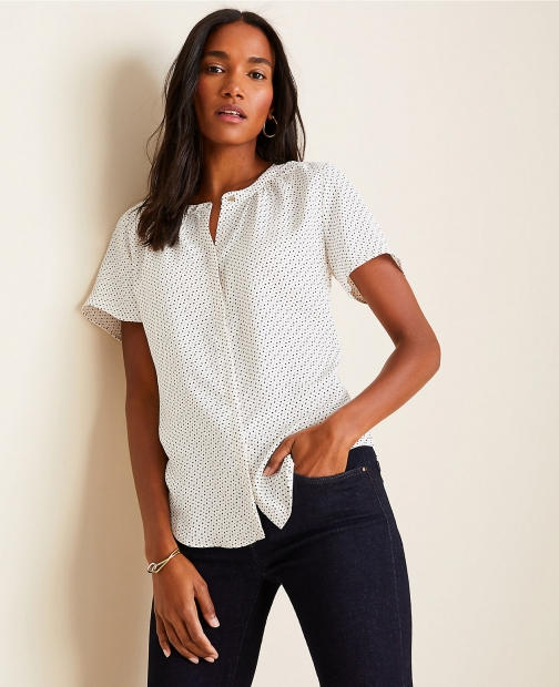 Ann Taylor Dotted Mixed Media Button Down Top