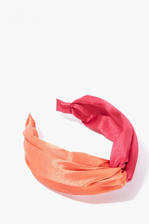 Forever21 Forever 21 Knotted Satin Headband , Pink/orange Headwear