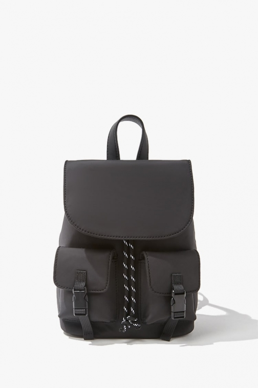 Forever21 Forever 21 Contrast-Trim Pocket Mini , Black Backpack