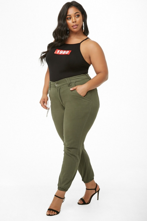 Forever21 Plus Forever 21 Plus Size Chain High-Waisted Olive Jogger