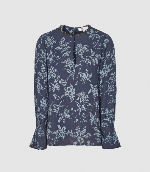 Reiss Marina - Printed With Embellishment Detail Blue, Womens, Size 4 Blouse