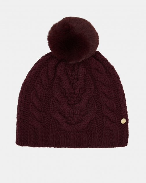 Ted Baker Cable Knit Wool Blend Pom Pom Hat
