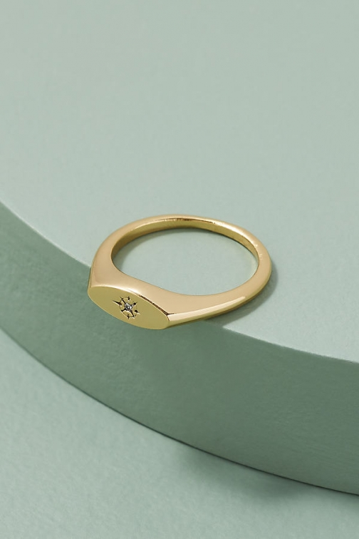 Anthropologie Jewelled Signet Ring
