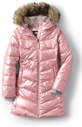 Lands' End Girls Winter Fleece Lined Down Alternative ThermoPlume Coat - Lands' End - Pink - S