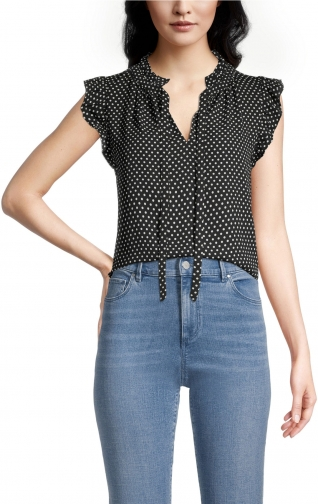 Ann Taylor Factory Petite Dotted Tie Neck Shell Top