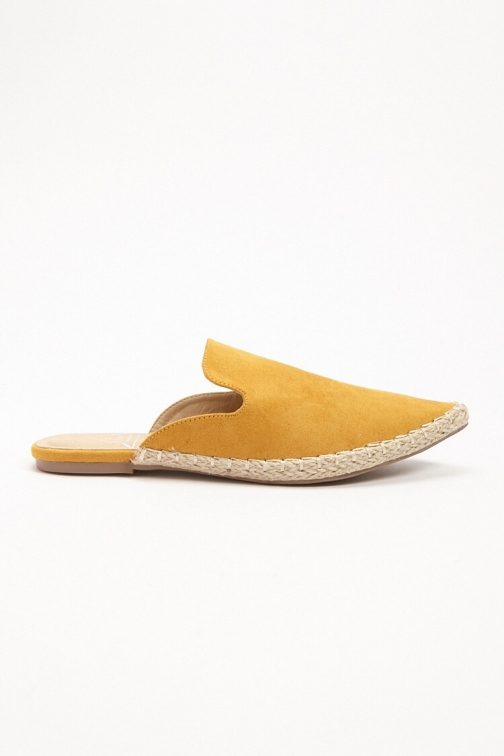 Forever21 Forever 21 St. Sana Faux Leather Mules , Yellow Espadrille