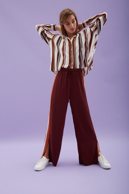 Love21 Striped-Trim Palazzo Pants At Forever 21 , Wine/amber Trouser