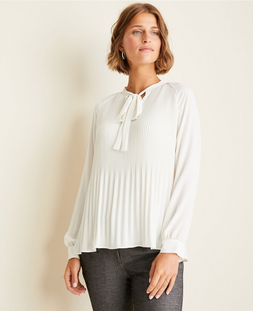 Ann Taylor Pleated Tie Neck Blouse